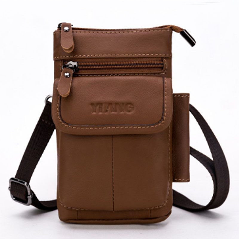 famous brand Genuine Leather Men Waist Hook Shoulder Bags Purse Casual Cross Body Male Hip Bum Cell Phone Case Belt Fanny Pack 100% genuine leather men 5 5 6 5 inch cell mobile phone case bags hip design belt purse high quality waist hook coin purse bag
