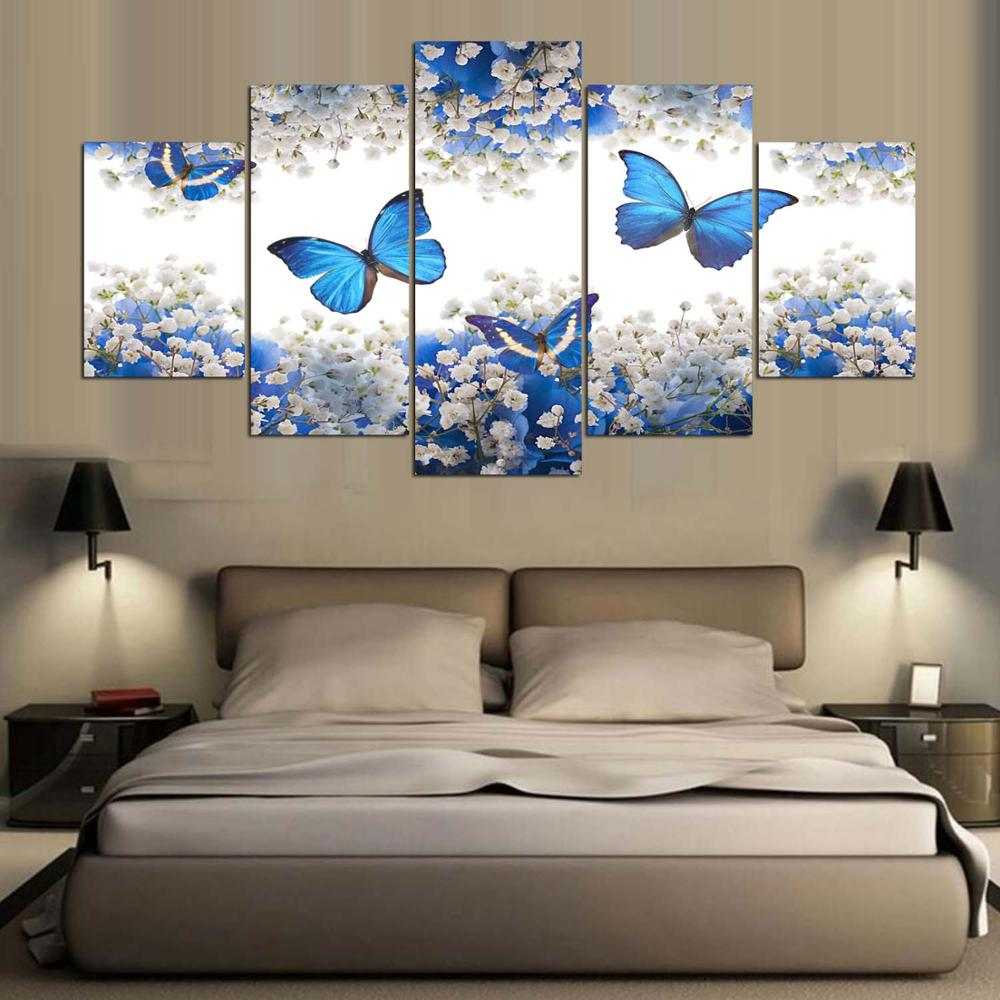 Art Poster Wall Pictures 5 Panel Blue Butterfly Spray