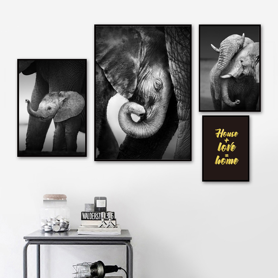 Baby elephant with mum wall art canvas painting black white photo pop art posters and prints