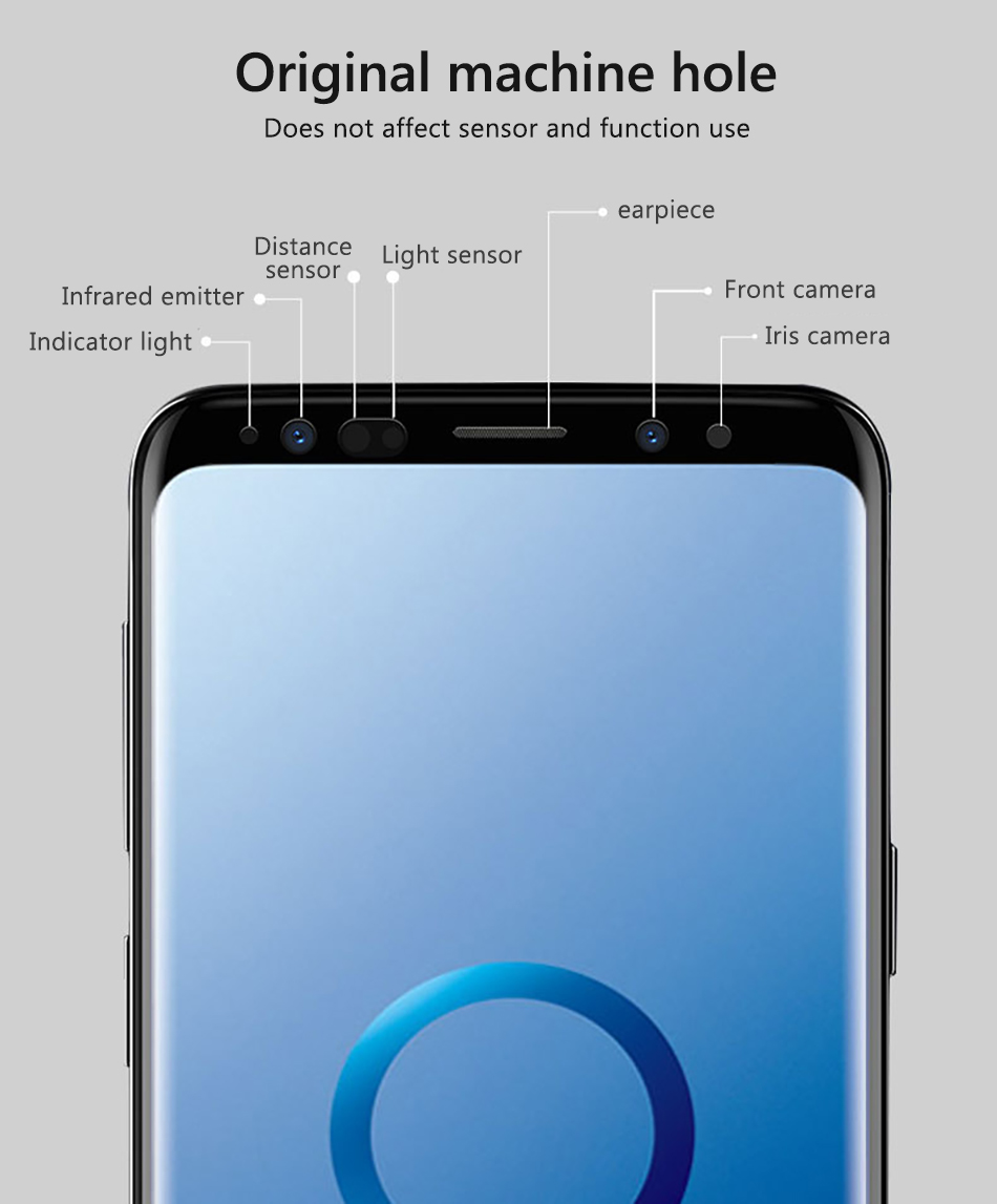 !ACCEZZ Curved Coverage Tempered Glass Film For Samsung S8 S9 Plus Note 8 Anti-fingerprint Protector Screen Front Clear Films (5)