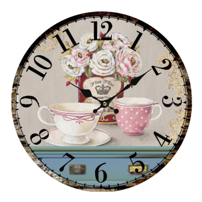 PHFU Vintage Antique Style 34Cm Wall Clock Home Bedroom Retro Kitchen Quartz (Pattern:Flower+Cups)