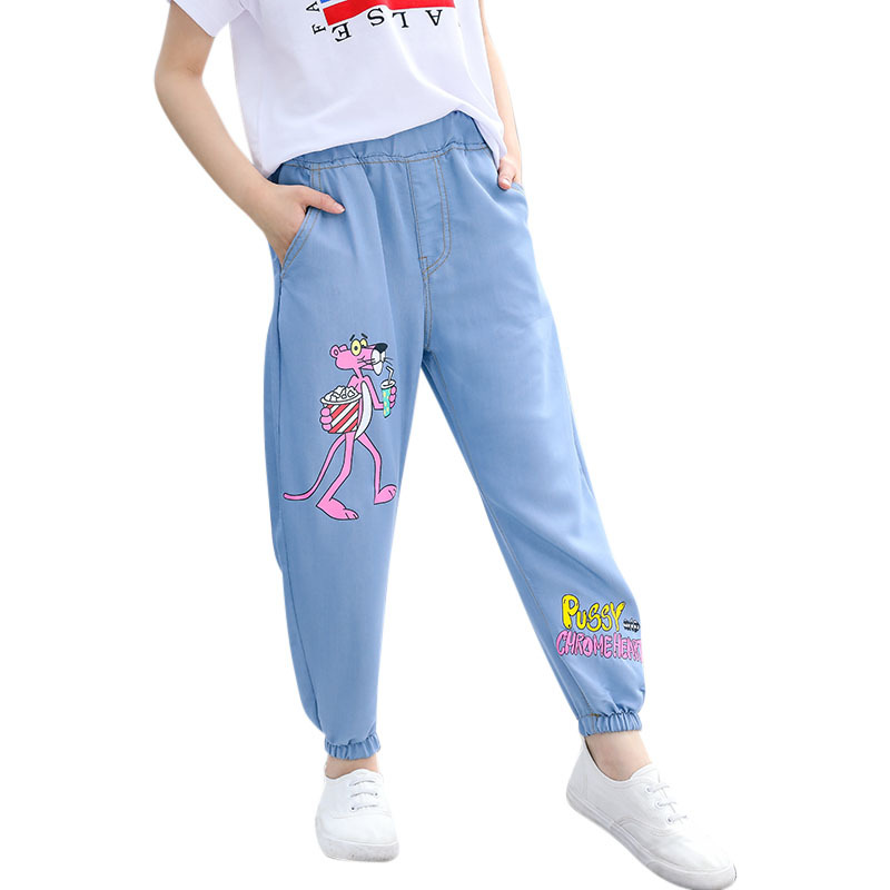 Pratico Dei Jeans Delle Ragazze Dei Pantaloni Del Modello Del Fumetto Sveglio Pantera Rosa Pantaloni In Denim Di Estate Del Bambino Delle Ragazze Dei Jeans Dei Pantaloni Del Bambino Freddo A Prova Di Zanzara Pantaloni