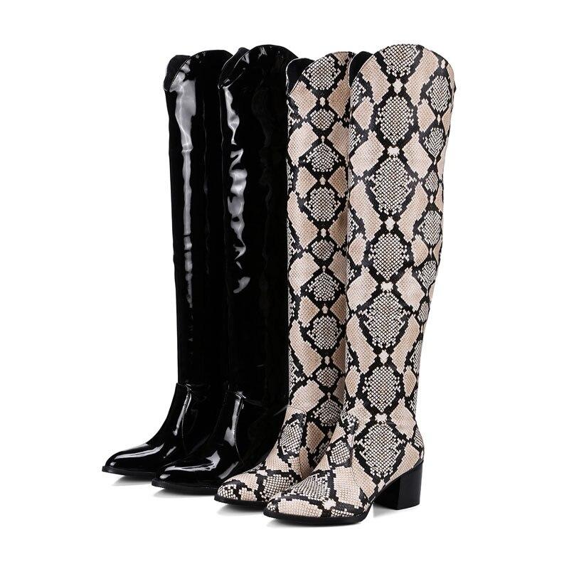 Alto Black Botas el Mujer Sexy Fanyuan Moda Rodilla Slip Zapatos Sobre baowen De Leopardo Comfort Invierno Punta La tacón XFnxTqpfx