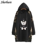 2018 Autumn Women Hooded Hoodies Warm Long Sweatshirt Overcoat Female Loose Embroidery Pullover Hoodies Coat Plus Size Tops
