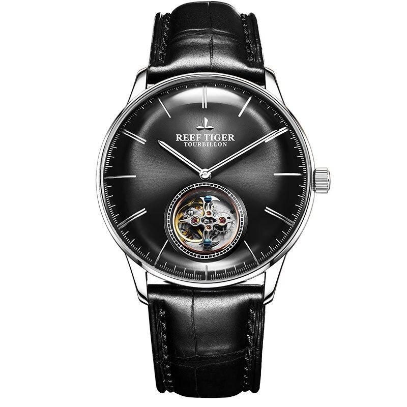 Récif Tigre/RT Mens Tourbillon Montre Top Marque montre automatique de luxe En Cuir montres d'affaires Étanche reloj hombre RGA1930