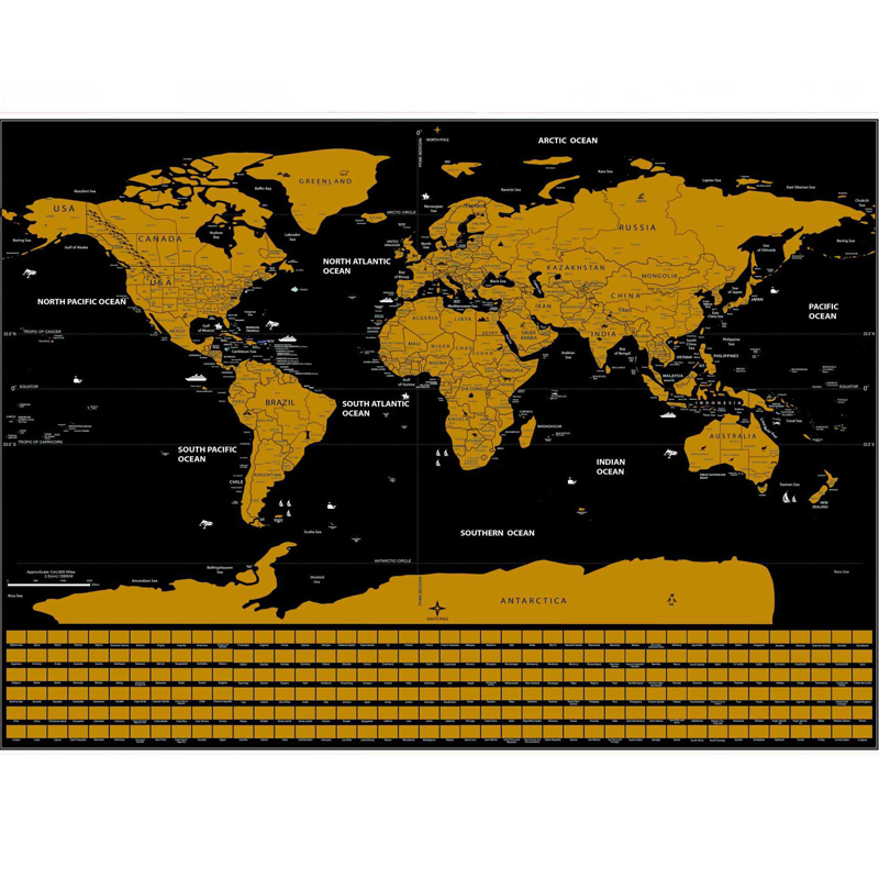 Scratch Off World Map -Best Gift For Travelers And Go Explorers,Office Supplies Social Studies Materials Educational Accessories