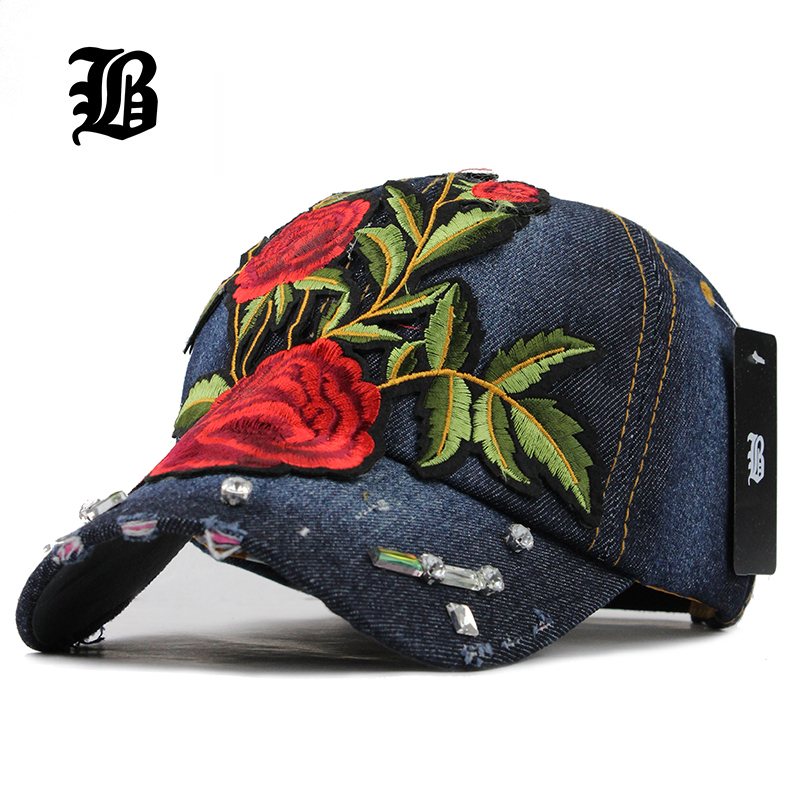 [FLB] 2017 Won'T Let You Down Baseball Cap Rose Snapback Cap Hats For Women Cowboy Cotton Summer And Fall Caps Fashion Women Hat 2016 feammal new rose floral embroidered casquette polos baseball caps cotton strapback black pink rose for women sport cap