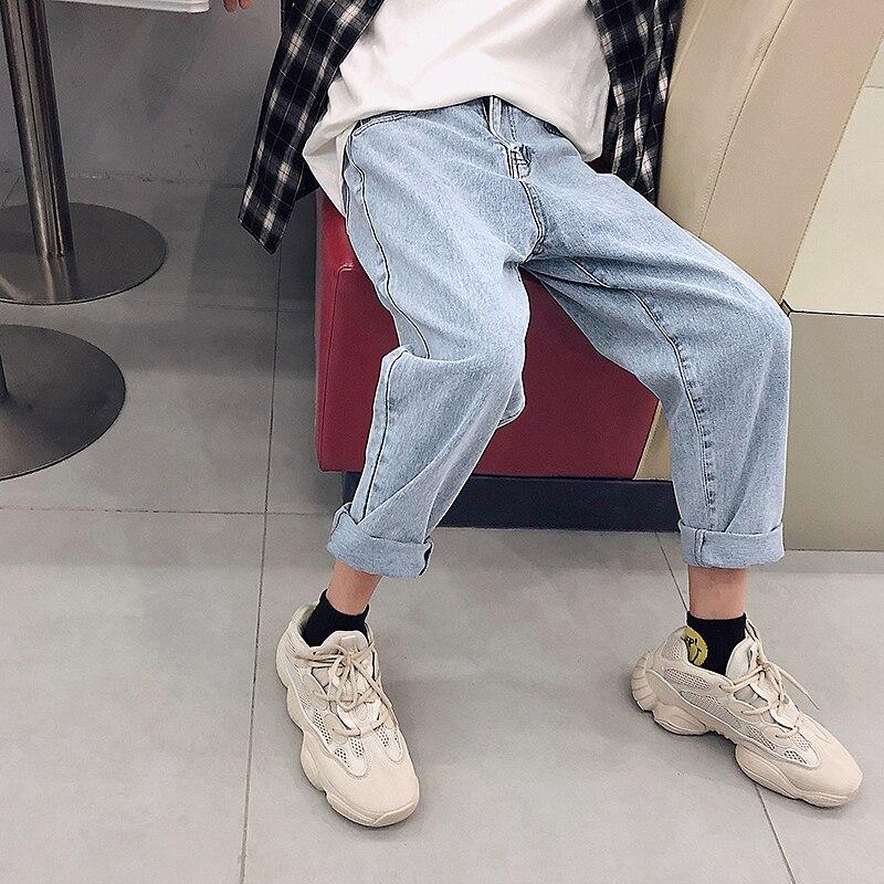 2018 New Fashion Four Seasons Loose Men Jeans Washed Cotton Casual Light Blue Cowboy Pants Zipper Jeans M-2XL Free Shipping 4