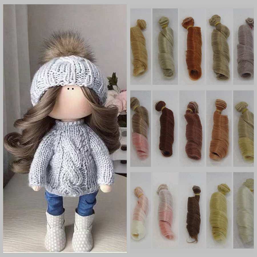 High Quality 15cm Temperature Heat Resistant Doll Hair for 1/3 1/4 1/6 BJD Roman Curly Russian Handmade