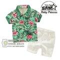 2016 Estilo Verão Meninos Roupas de Praia Duas Peças Set-manga Curta T-shirt de Impressão 3-11 Anos As Crianças Crianças Vestuário de moda