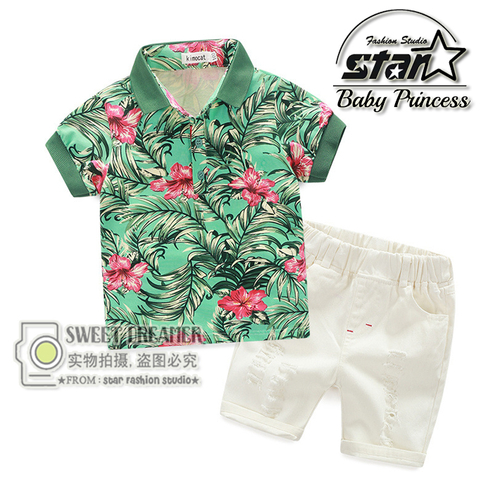 2016 Summer Style Boys Clothes Beach Two Pieces Set Short-sleeved Print T-shirt 3-11 Years Children Kids Fashion Clothing