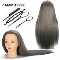 CAMMITEVER Professional Mannequin Head with Grey Hair For Women Training Practice Hairdressing Doll Female Mannequin Heads Hair