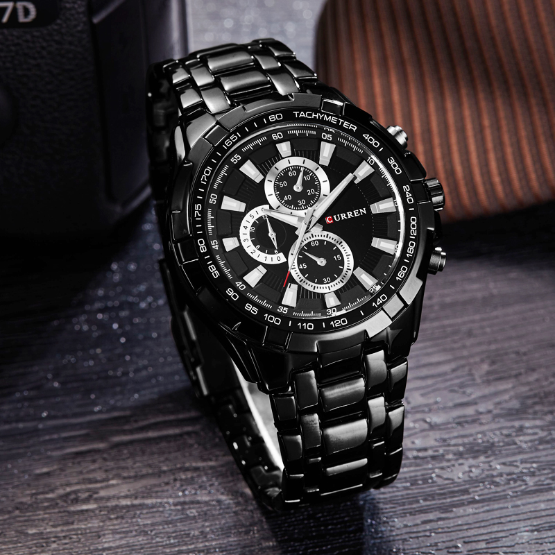CURREN 8023 Men Watches Top Brand Luxury Men Military Wrist Watches Full Stainless Steel Sports Men