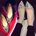 2017 New HandMade Top Luxury Leather Rhinestone Flats Female Fashion Pointed Toe Flats Crystal Single Shoes Gold Silver