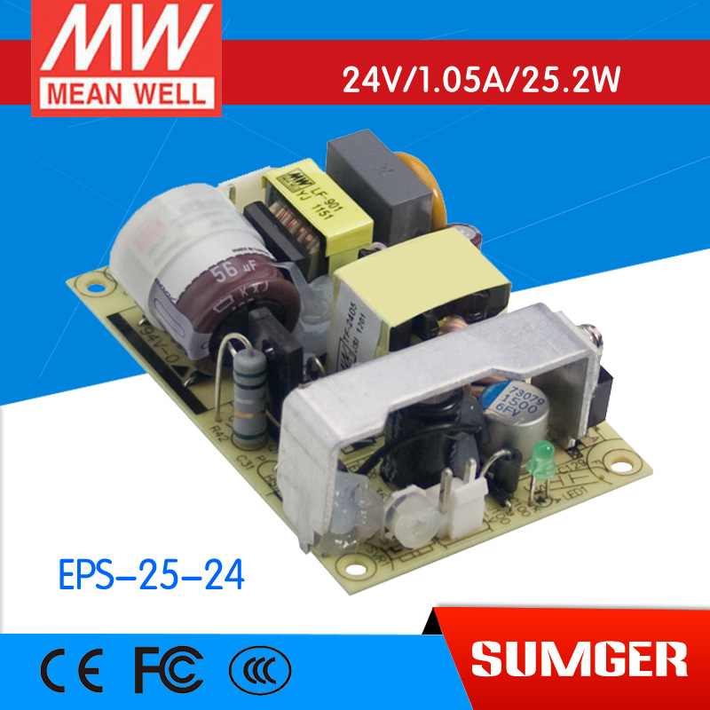 ФОТО [Freeshiping 2Pcs] MEAN WELL original EPS-25-24 24V 1.05A meanwell EPS-25 24V 25.2W Single Output Switching Power Supply