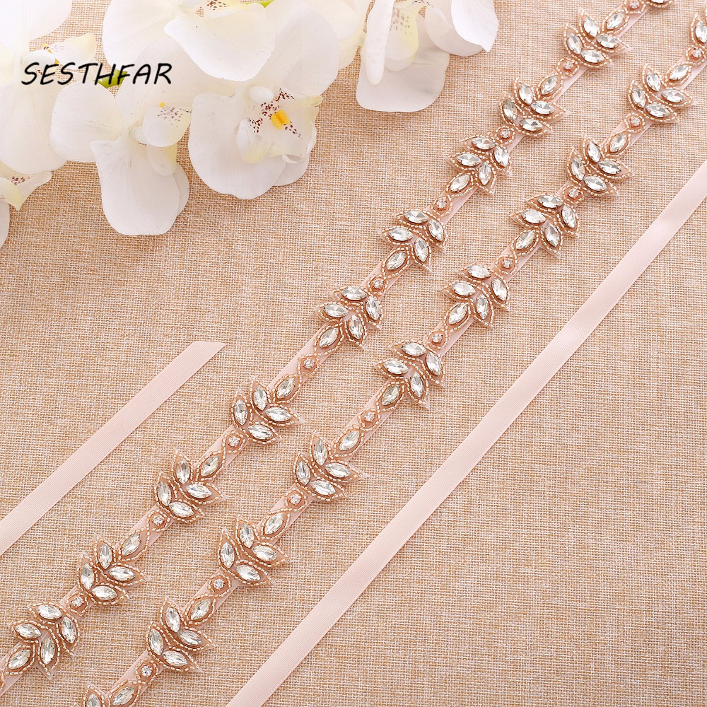 Hand Beaded Bridal Belt Sash Rhinestones Wedding Sash Rose Gold Crystal Wedding Belt For Bridal DressesJ180RG