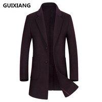 Гуйсян 2017 Для мужчин модные двусторонний Шерстяной Тренч пальто куртка Для мужчин повседневная Шерстяной Тренч пальто Куртки шерсть Для му