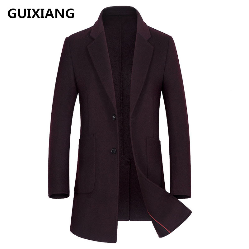 GUIXIANG 2017 Men's fashion double-faced woolen   trench   coat jacket Men's casual woolen   trench   coat jackets wool men coat
