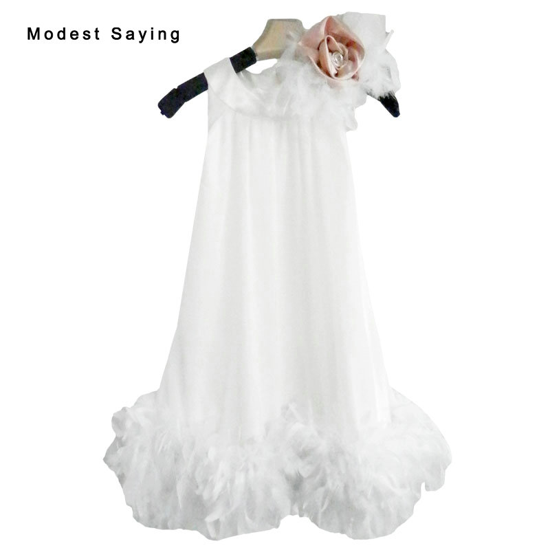 Lovely Ivory A-line Feather Flower Girl Dress 2017 With Flowers Knee-Length Baby Kids Girl Beauty Pageant Party Prom Gowns YF23