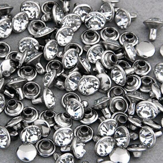 100 satser 7mm CZ Kristaller Rhinestone Rivets Rapid Silver Nailhead Spots Studs DIY Fraktfritt