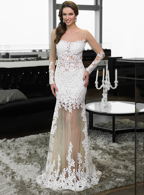Sexy Long Sleeves White Nude Lace Tulle Mermaid Prom -9527