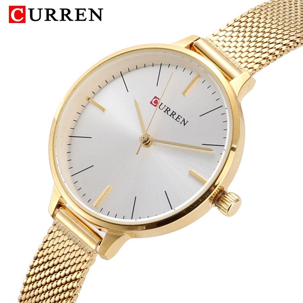 hot fashion quartz watch for women casual ladies watch free shipping waterproof elegant golden steel mesh band (5)