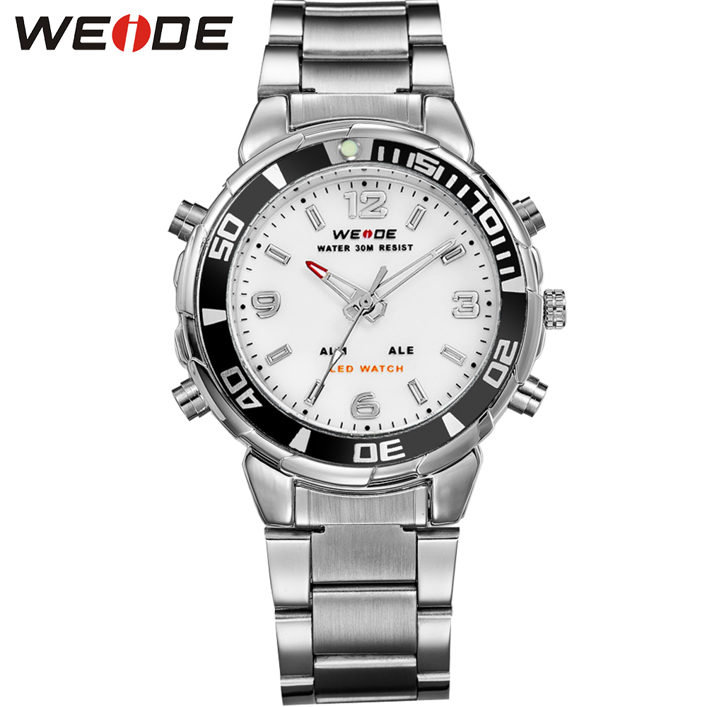 WEIDE Original Alarm Analog Digital LED Sports Watch Men Army Military Multifunctional Stainless Steel Band Quartz Wrist Watches weide popular brand silver stainless steel watch men analog digital display quartz movement sports army military wrist watches