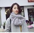 2016 de La Moda de Invierno Bufanda Femenina Diseñador de la Marca Bufanda de Piel Sintética de Lujo Caliente Pashmina Bufanda Chales Bufandas Del Abrigo de Color Sólido