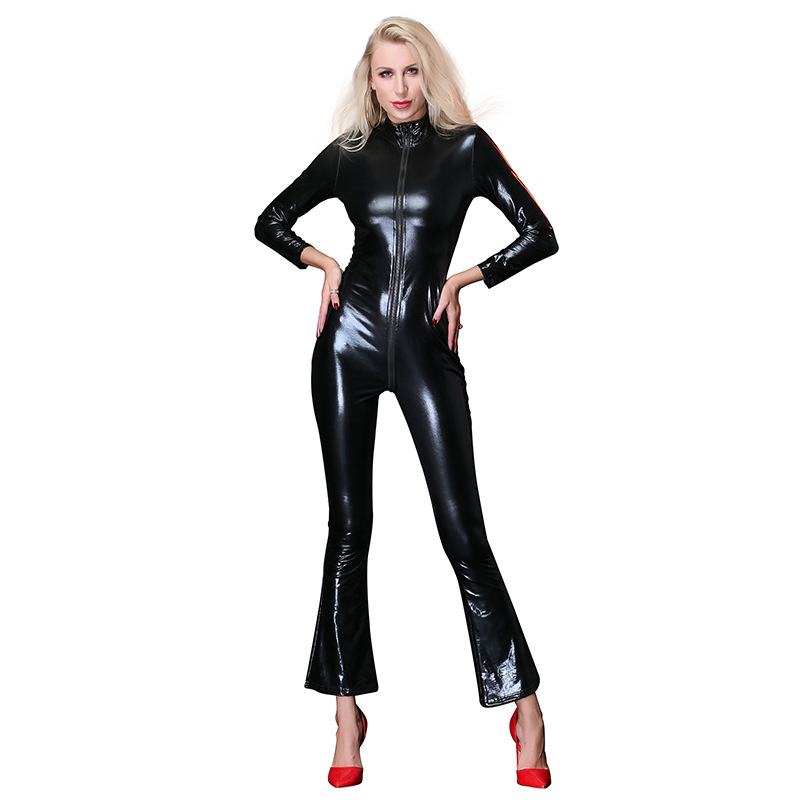 Hot Lady Sexy Faux Leather Latex Zentai Catsuit Smooth Wetlook Women Jumpsuit Front Zipper Elastic Black PU Bodysuits Clubwear