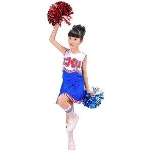 Image 4 - בנות Red & Blue מעודדת לעודד תחפושת תלבושת אחיד עם Poms פום שמלת בגדי גרבי סט מתאים 3 15Yrs