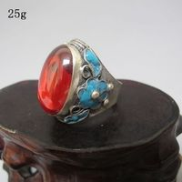 Excellent Tibet Silver Inlay Red Jade Stone Cloisonne Red Flower Adjust Ring