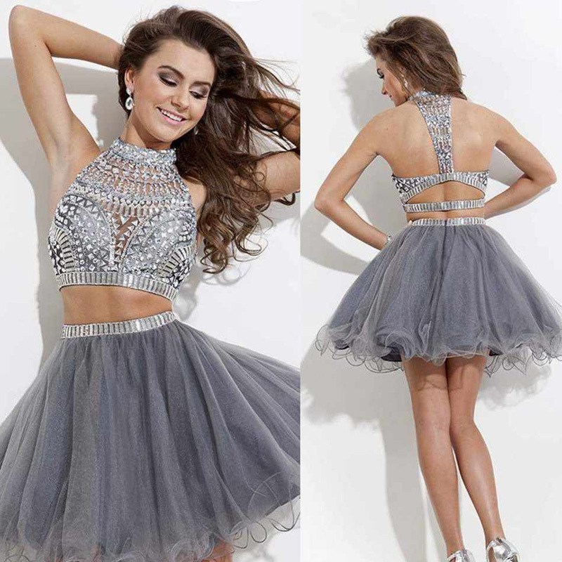 514291ae4c5 Royal Blue Crystal 2 Two PIeces Short Prom Dress High Neck Silver Beaded  Mini Skirt Cocktail Party Dresses Custom Made TD001 on Aliexpress.com