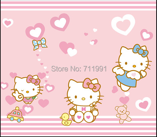 Custom Baby Wallpaper Cute Cartoon Cat Hello Kitty For Childrens Room Living Bedroom Backdrop In Wallpapers From Home Improvement On