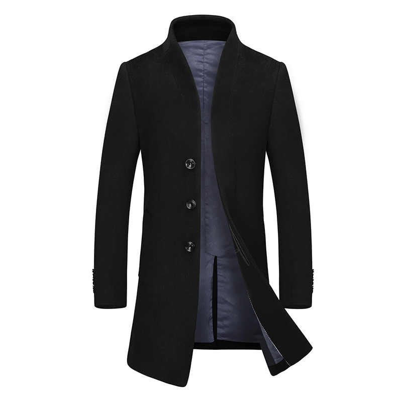 9ae2a17caf44 2019 Men Wool Long Trench Coats Woolen Blends Suit England Style Design  Slim Wool Overcoat Mens