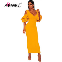 ADEWEL Sexy Elegant Tiered Sleeve Bodycon Party Long Dress Women V neck Nightclub Short Sleeve Dress Cocktail Long Dresses