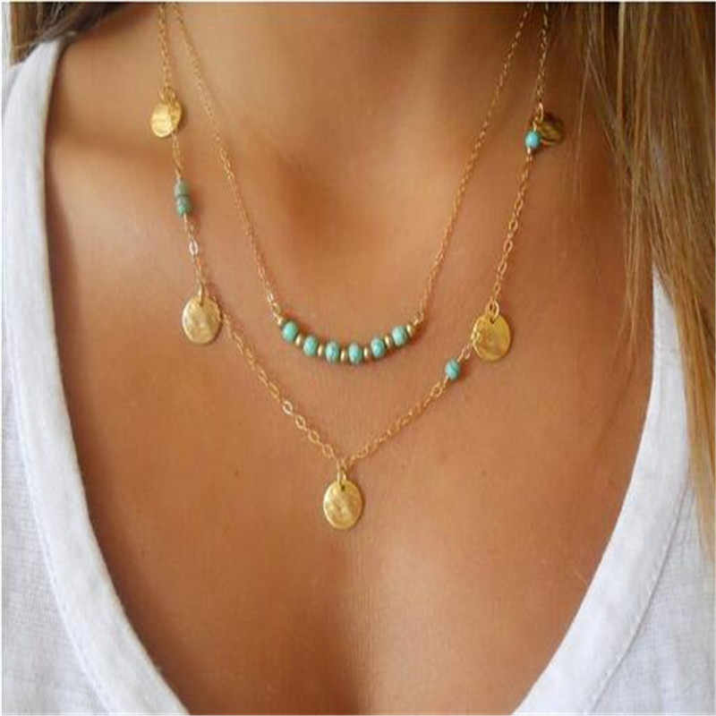 European and American Fashion double layer  Bohemian pendant necklace ND67