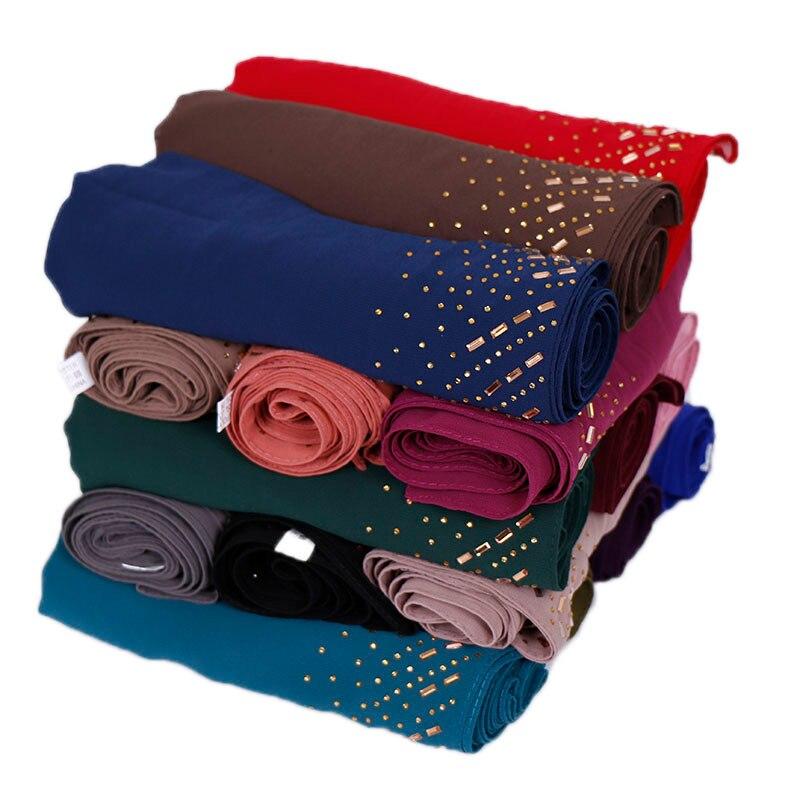 Women Solid Color Bubble Chiffon Diamond Shawls Scarf Hijab Headband Wrap Fashion Muslim 16 Color Scarves/scarf 180*75 Cm