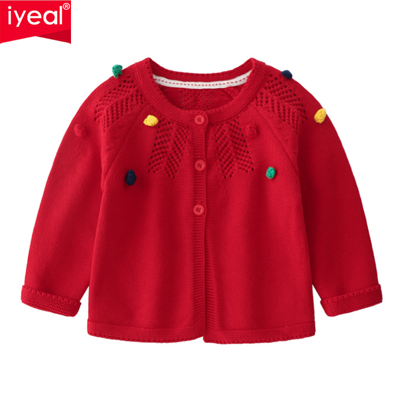 IYEAL 1-3 Years Old Baby Girl Sweater Children Autumn Hollow Out Sweater Cardigan Jacket For Kids Toddler Girls Outwear hollow out plus size poncho sweater