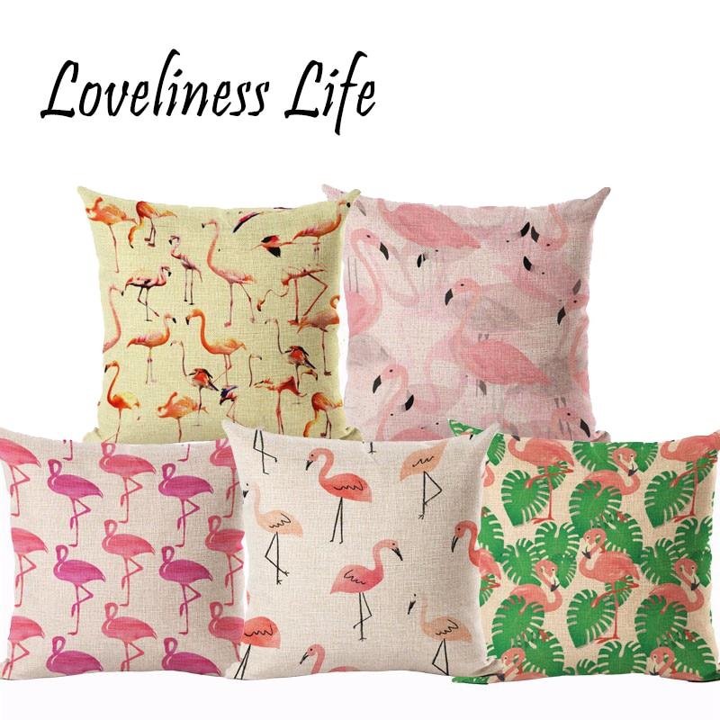 Stylish Flamingo Cushion Cover Cotton Linen Throw Pillows Decorative Cushion Covers Sofa Bed Decor 45x45cm Gift Almofadas