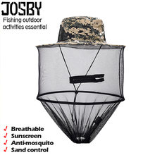 Camouflage Anti Mosquito Fishing Hat With Net Mesh Head Cover Fisherman Hat Beekeeping Camping Mask Face Protect Caps(China)