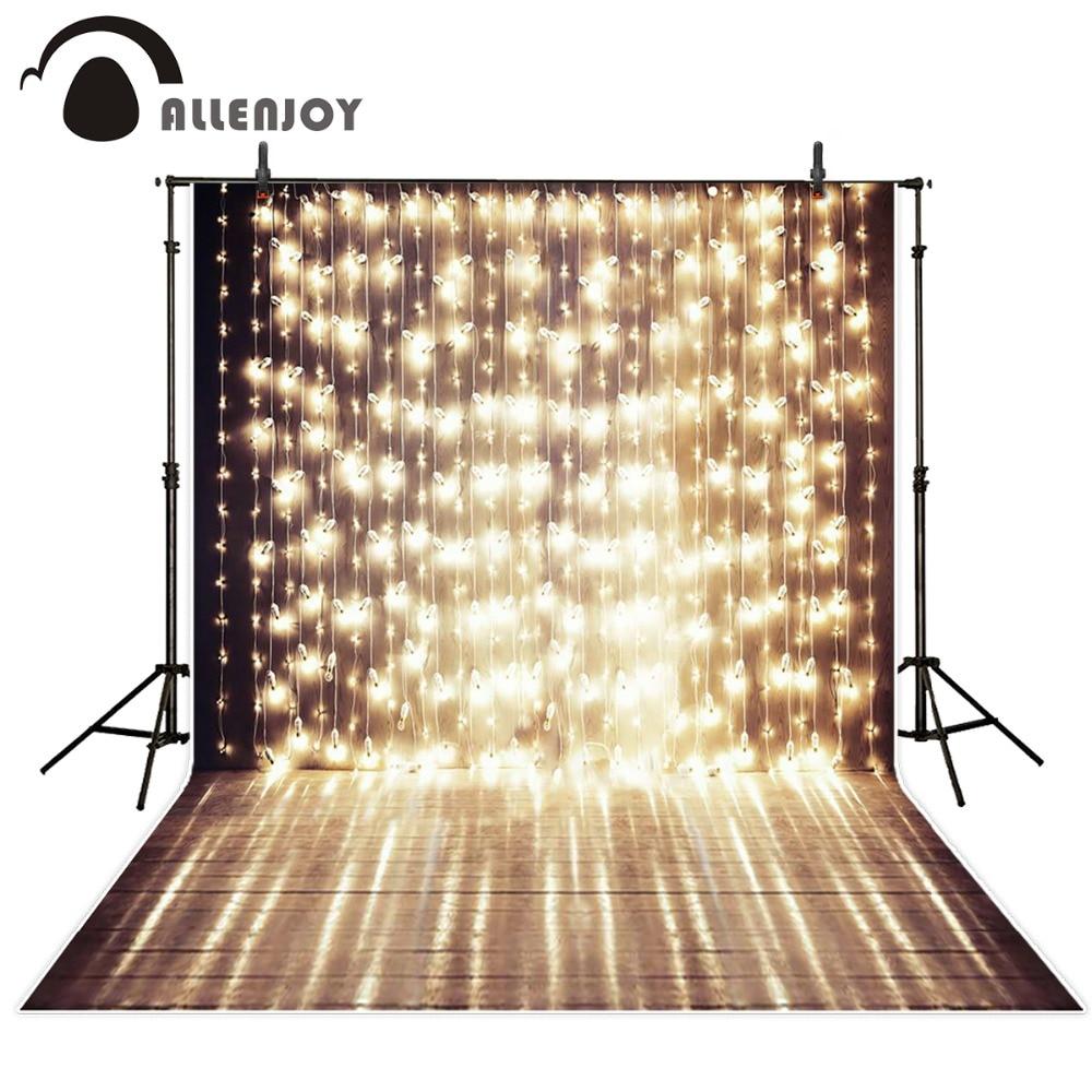 Allenjoy 5x7ft glänzender Bühnenfotografie-Hintergrund eine Reihe festlicher Lichter, die Vorlagenhintergrund für Fotostudio-Gewohnheit wedding sind