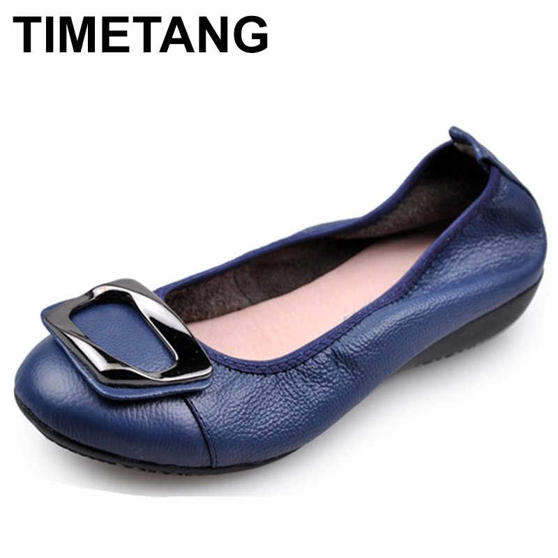 TIMETANG New Genuine Leather Soft Bottom Women shoes Big Size Flat Heel Shoes  Women Casual Shoes bfe64e00cbf