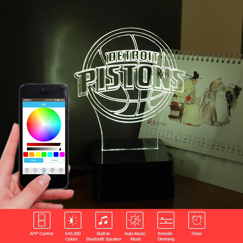 ФОТО Novelty 3D Light NBA Pistons Music Table Lamp Smart Phone APP Controlled Nightlihgt Child Sleeping Light with Bluetooth Speaker