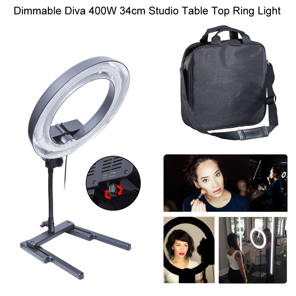 Dimmable Diva 400W 34cm Studio Table Top Ring Light Lamp for Beauty Make Up Photography Photo Camera Selfie Lighting 200V ~240V neewer table top mini led ring light lighting kit includes for beauty blog make up selfie studio portrait video photography