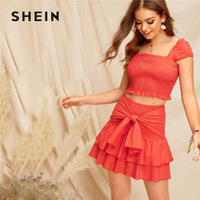 084369e7a864 SHEIN Bohemian Orange Smocked Crop Top And Tie Waist Layered Ruffle Skirt  Set Summer Women Vacation Sexy Two Piece Set