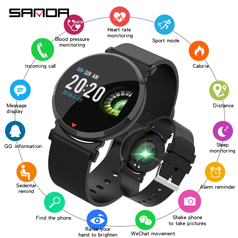 Temperate Sanda Silicone & Mesh Smart Watch E28 Ip67 Waterproof Heart Rate Monitor Blood Pressure Men Women Smartwatch For Ios Android Digital Watches