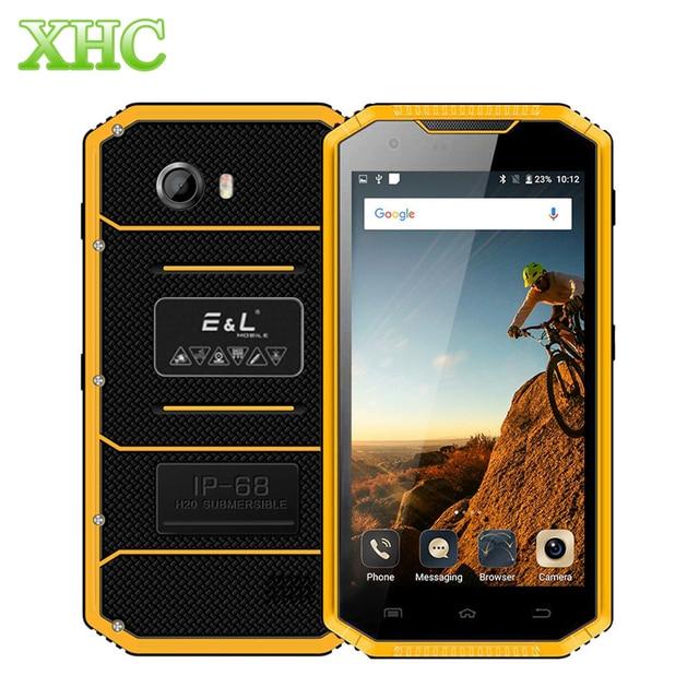 KXD E & L W7S Android 6.0 Cep Telefonu 2 GB 16 GB IP68 Su Geçirmez Darbeye Dayanıklı Toz Geçirmez 5.0 inç MTK6737 dört Çekirdekli Çift SIM Smartphone