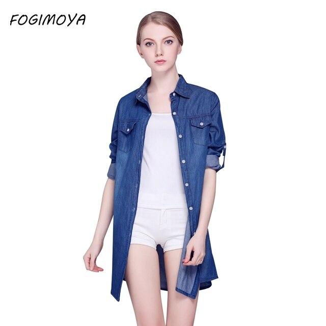 Fogimoya Джинсы для женщин Рубашки для мальчиков Для женщин осень 2017 джинсовые длинные рубашки пальто Топы корректирующие Для женщин длинный рукав отложным воротником Подпушка воротник открыть Стич рубашка