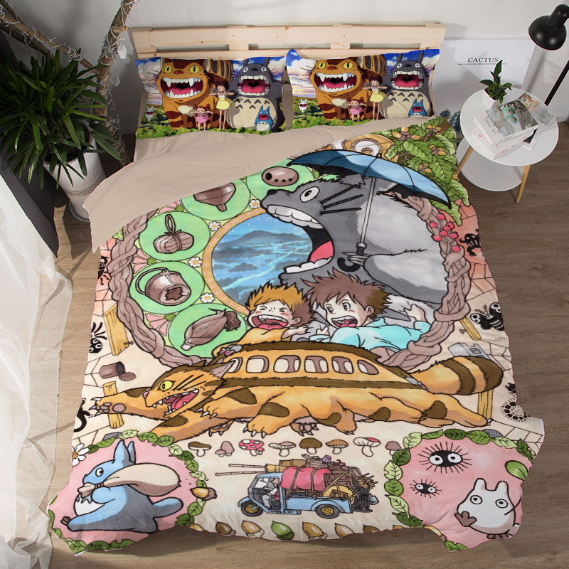 Grey Totoro 3 Pieces Bedding Sets Duvet Cover sets 3D Printing Beddings set twin single Queen