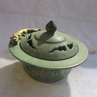 "Cinese old bronze gold gilt intagliato ""plum flower"" bruciatore di incenso/asian antiques metallo censer"
